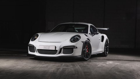 Porsche, 911, gt3, белый, вид спереди