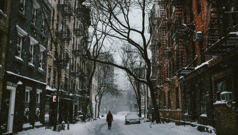 Город, дом, зима, снег, улица