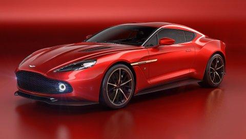 Aston martin, победный, красный, вид сбоку