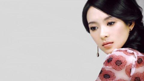 Zhang ziyi, брюнетка, актриса, фотосессия, макияж
