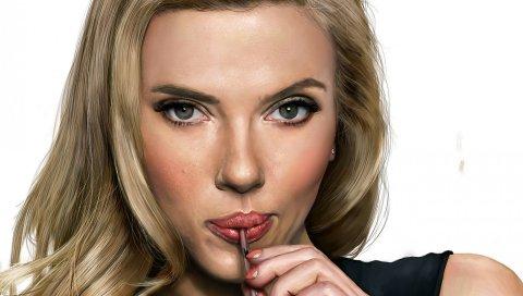Scarlett johansson, лицо, искусство, актриса