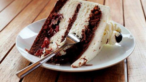 Торт, ломтик, сливки, выпечка