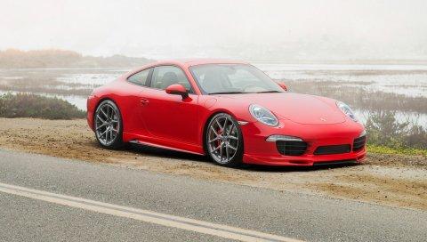 Porsche, 911, carrera 4s, красный, вид сбоку