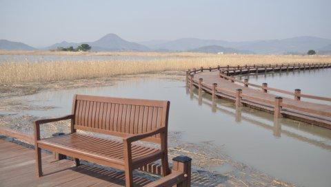Скамейка, река, трава, бухта