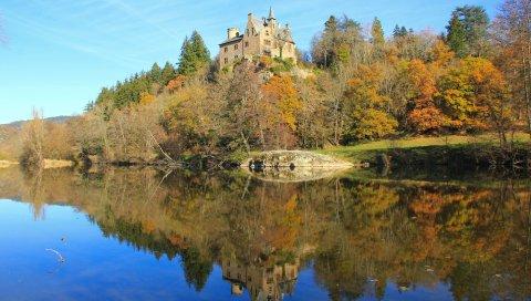 Замок, луара, франция, озеро, долина
