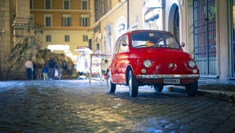 Fiat, 500px, красный, вид спереди