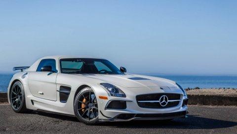 Mercedes-benz, sls, amg, белый, вид сбоку