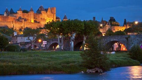 Франция, Каркассон, мост, здания, ночь