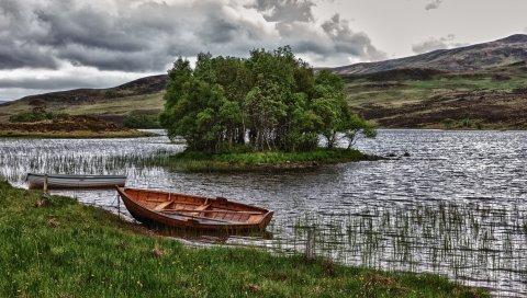 лодки, река, деревья, трава, облака