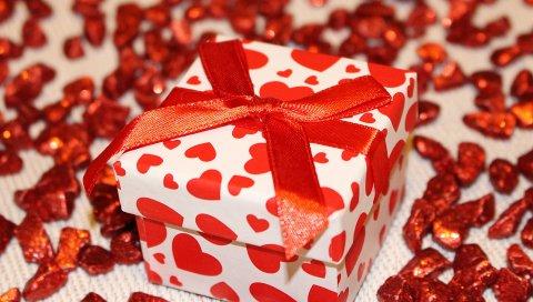 Подарок, коробка, лента, сердце