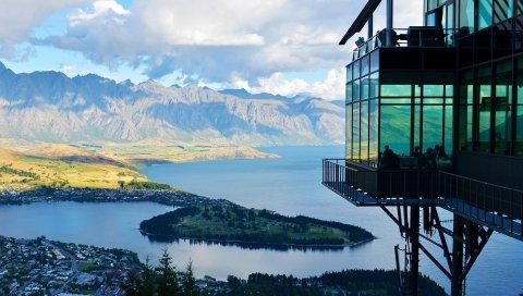 Новая Зеландия, озеро, гора, расстояние