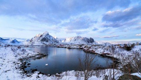 Лофотен, Норвегия, горы, озеро, зима