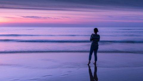Море, океан, пляж, девушка