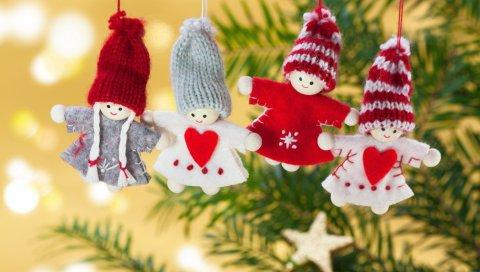 Рождество, игрушки, филиал, ангелы
