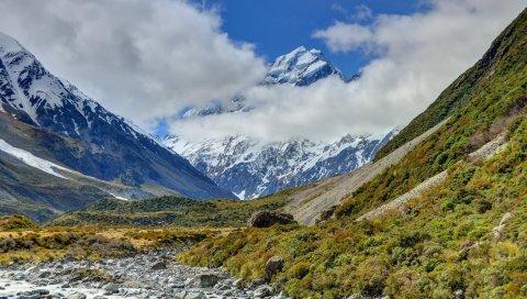 Аораки, национальный парк, гора, новая зеландия