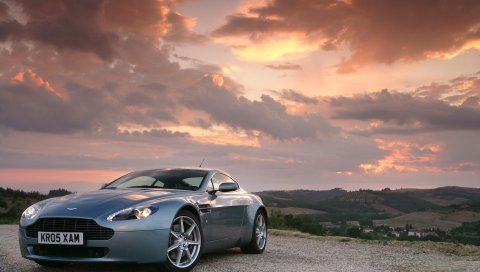 Aston martin, vantage, вид сбоку, закат