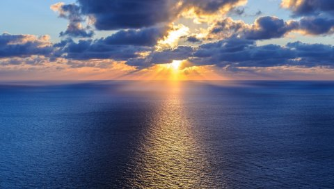 Океан, море, горизонт, облака