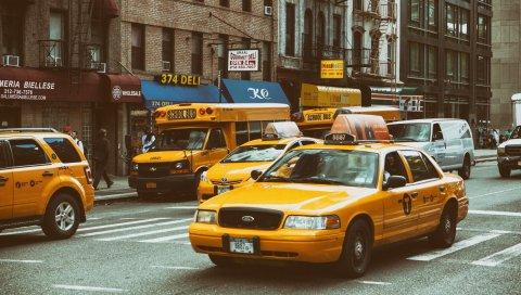 Желтый трафик, nyc, такси, улица