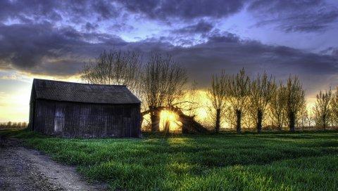 поле, трава, ночь, сарай, HDR