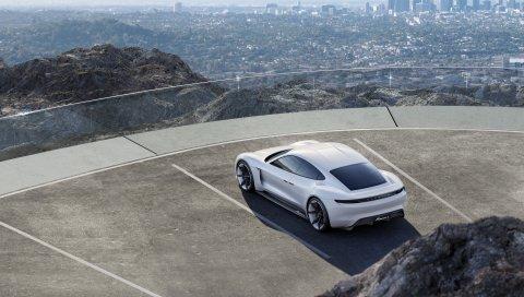 Porsche, миссия e, концепция, белый, вид сверху