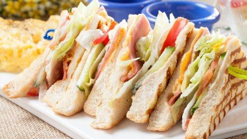 Сэндвич, хлеб, мясо, овощи