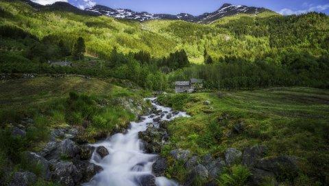 Странный, норвежский, hardangervidda, хижины, горы