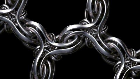 Рендеринг, цепь, ткачество, серебро