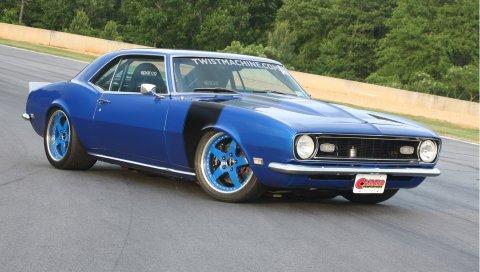 Chevrolet, camaro, синий, вид сбоку