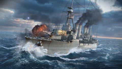 Мир военных кораблей, wargaming net, корабль, взрыв, море