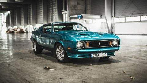 Mustang, ford, 1973, ангар, вид спереди