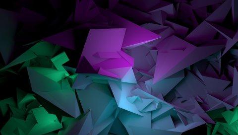 Абстрактные, формы, фиолетовый, зеленый