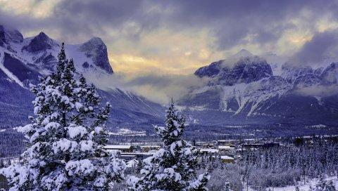 Канада, горы, альберта, национальный парк Банф, снег, зима