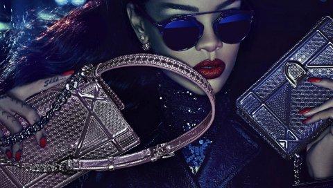 Рианна, сумки, лицо, очки, стиль