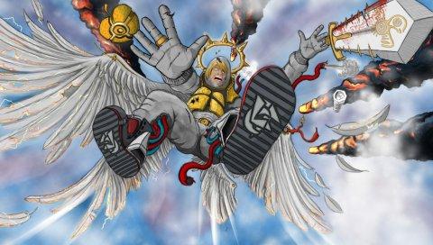 Искусство, крылья, меч, взрыв
