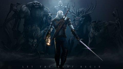 Ведьмак 3, дикая охота, монстры, искусство, воин