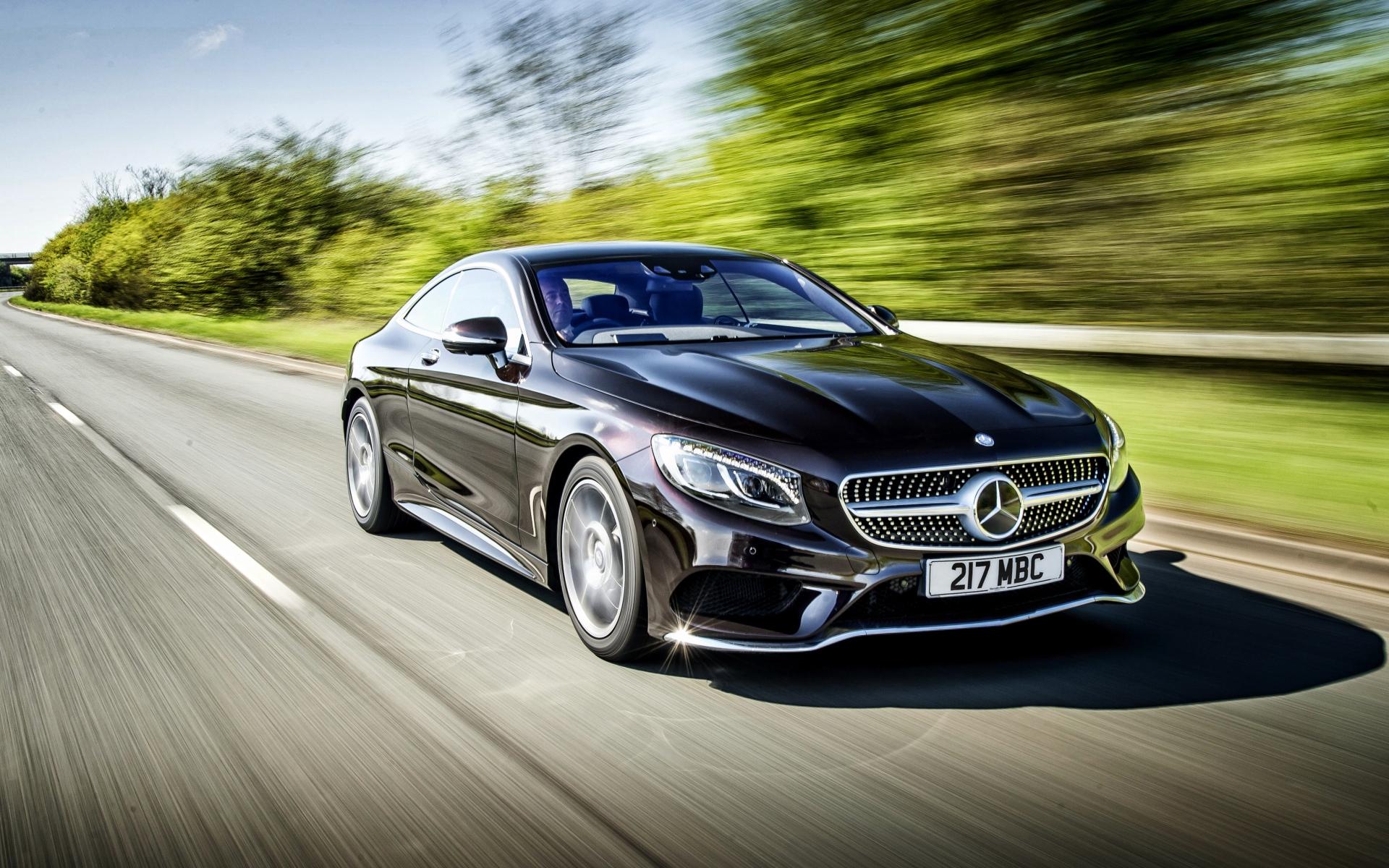 Картинки Mercedes-benz, s 500, купе, скорость, черный, вид сбоку фото и обои на рабочий стол
