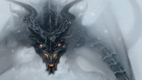 дракон, Алдуин, Skyrim, искусство