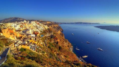 Греции, Санторини, остров, море, HDR