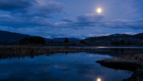 ночь, река, озеро, гора, небо