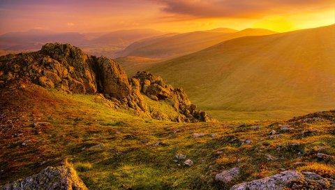 Горы, трава, рассвет, скалы