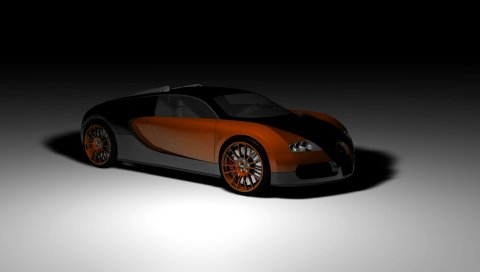 Bugatti, veyron, концепция, автомобиль, вид сбоку, тень