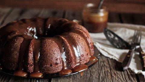 Торт, глазурь, шоколад, десерт