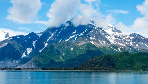 США, кенай фьорды, Аляска, горы, озеро, небо