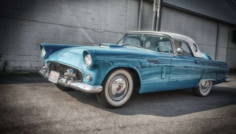 Ford, thunderbird, 1956, синий, вид сбоку
