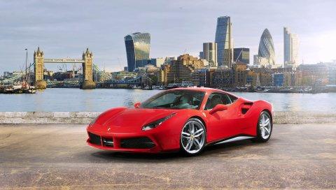 Ferrari, 488 gtb, красный, вид сбоку