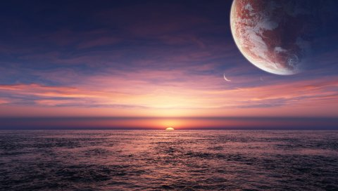 Планета, пространство, море, горизонт