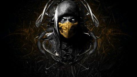 Mortal Kombat х, скорпиона, лицо, ниндзя, маска