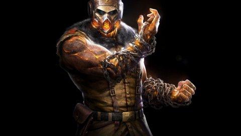 Mortal Kombat х, скорпион, ниндзя, маски, цепи