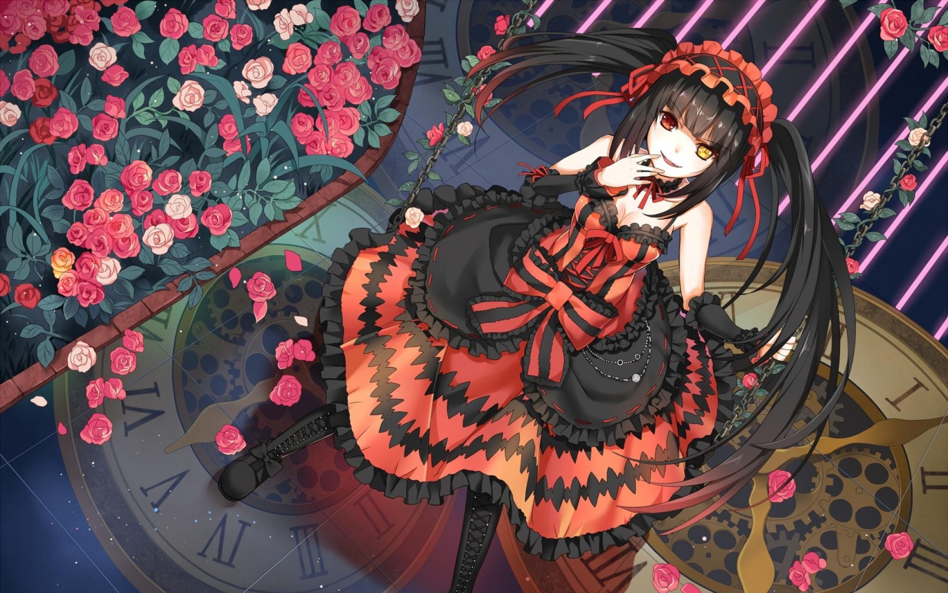 Картинки дата живой, tokisaki Каруми, девушка, аниме, платье,цветы фото и обои на рабочий стол