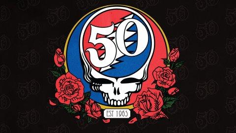 Благодарные мертвые, Санта-Клара, череп, искусство, розы